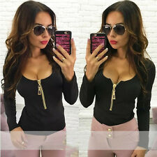 Plus Size Womens Sexy-V Casual Shirts Long Sleeve Zipper T-Shirt Blouse Tops New