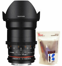 Samyang 35mm T1.5 Cine VDSLR II Version 2 Wide Angle Lens for Sony a Alpha DSLR