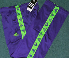 NWT Adidas Boys L Navy Blue/Bright Green Track Star Climalite Pants Large 14-16