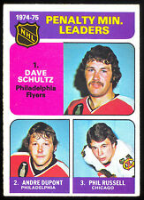 1975-76 O PEE CHEE 211 DAVE SCHULTZ ANDRE DUPONT EX+ PHILADELPHIA FLYERS LEADERS