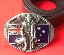 Bandera australiana vaquero Lasso Rancher Outback australiano Buckle Cinturón De Cuero