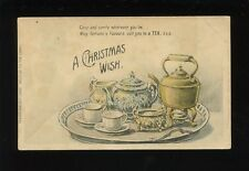 Greetings A Christmas Wish Tea Hold to Light early unposted PPC novelty