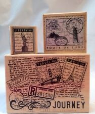 Hero Arts CardArt Journey Travel Collage Liberty Paris Postage 3 Rubber Stamps