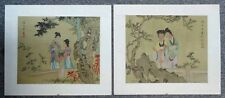 PAIR VINTAGE CHINESE PAINTINGS ON SILK - BOTH SIGNED