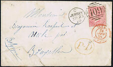 1860 SG 66 4d Rose Fine Used Jersey to Brussels fine Red Iles St Malo etc