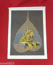 SMALL PAINTING TIGER HAND PAINTED ON LEAF HAND CRAFTED INDIA UNIQUE WALL DECOR