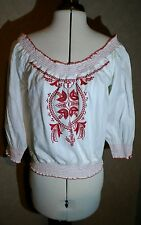 NEW size 12/14 white/cream/red 3/4 sleeve off shoulder gypsy top