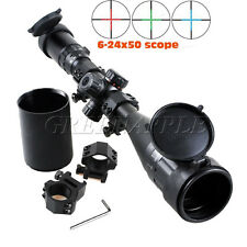 Riflescope 6-24x50AOE Red/Green/Blue Illuminated Mil-dot Rifle Scope W/ Sunshade