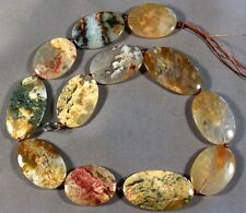 """PICTURED NATURAL AUSTRALIAN YELLOW MOSS OPAL 26-36MM OVAL BEADS 15.5"""" STR"""