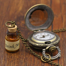 2016 Hot Fashion Reto Drink Me Wishing Bottle Pendent Pocket Watch Long Necklace