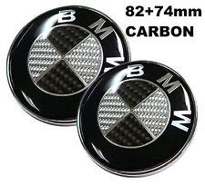 82+74mm BMW Carbon Schwarz weiss Emblem Vorne Motorhaube e46 e90 e60 e39 1 3 5 7