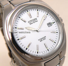 CITIZEN MEN ECODRIVE TITANIUM  WHITE FACE DATE 100m  BM6200-50A cg
