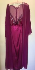 Nightgown Peignoir Set 1X NWOT by Amoureuse Long Gown Silky With Sheer Type Robe