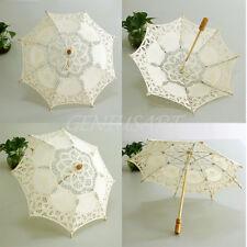 Hot Elegant Handmade Cotton Lace Parasol Umbrella Wedding Party Decoration ge9y