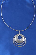 ISRAEL STERLING OMEGA CUTOUT DISC PENDANT WIRE CHAIN NECKLACE 925 SIGNED 4522