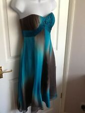 MONSOON Turquoise Brown Size 8 Silk Knee Length Empire Line Dress Wedding Guest