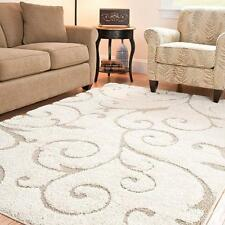 Cream Beige Shag Area Rug 5 x 7'6 Carpet Living Room Office Style Hand Mat Bed