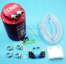 Red Cylinder Style Car Motor Racing Engine Oil Catch Tank Can Reservoir + Hose