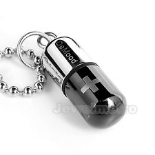 Stainless Steel Black Silver Pill Capsule Pendant Necklace Men Women