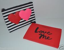 VICTORIA'S SECRET MAGNETIC HEARTS STRIPED RED LOVE ME MAKEUP CASE BAG SET CLUTCH