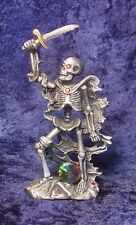 Pewter SKELETON Warrior with RED CRYSTALS - Satin Matte Finish