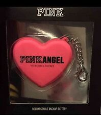 Victorias Secret Pink Portable Phone Charger Heart Keychain Logo LIMITED EDITION