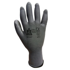 12 Pairs GREY PU Precise Palm Coated Safety Work Gloves Size 7