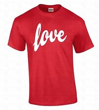 LOVE Men's T-SHIRT White Logo Special Funny Cute Gift For Him Valentines Day Tee