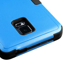 For Samsung Galaxy Note Edge - HYBRID ARMOR SKIN CASE COVER BLUE BLACK KICKSTAND