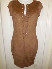 Women Formal Career Career Cocktail Casual Brown Dress Sz M Elegant Brown Dress