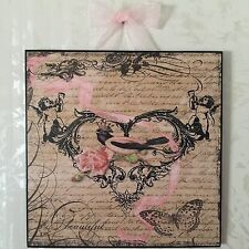 French Country Bird & Rose Plaque Wall Decor Cottage Shabby