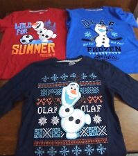 Frozen Olaf Shirt Lot of 3 Long Sleeved Shirts Henley Disney Boys Size M 5-6 New