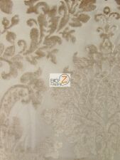 DAMASK MEDALLION VELVET BURNOUT DRAPERY FABRIC - Taupe - BY YARD DRAPERY DECOR