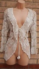 LABEL BY SKY WHITE CIRCLES CROCHET KNIT BELTED KIMONO CAPE  BLAZER CARDIGAN 14