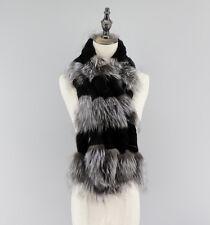 Genuine Silver Fox Fur Rex Rabbit Fur Unisex Winter Scarf Scarves Neck Warmer