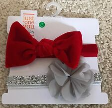 CARTER'S JUST ONE YOU BABY 2 PC. SET-RED VELVET BOW & SILVER GLITTERY HEADBANDS