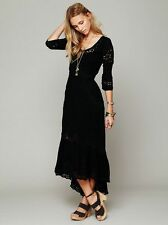 137072 NEW Free People Mexican Wedding Embroidered Lace Cutout Black Dress XS 2