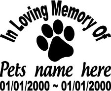 In Loving Memory My Pet Dog Cat Decal Window Sticker Personalized Memorial car