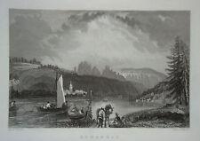 Schandau Elbe  Sächsiche Schweiz Sachsen echter alter Stahlstich 1850