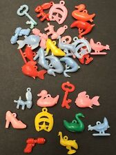 Vintage 1960s Plastic Charms - 30 assorted, Key, Space Gun, Star, Shoe, Duck etc