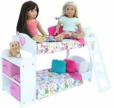 20 Pc. Bedroom Set for 18 Inch American Girl Doll. Includes Bunk Bed Bookshel...