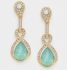 "1.75"" Mint Blue Dangle Gold AB Austrian Crystal Pageant Bridal Earrings"