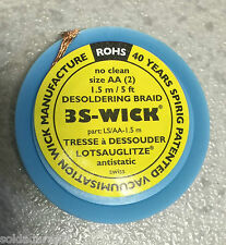 1,5 mts size AA ( 2 ) Malla Desoldar 3S Wick - Desoldadora - Made in Switzerland