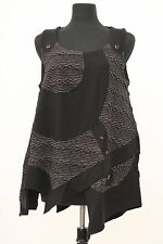 PRISA COLLECTION ARTSY LAGENLOOK ASYM SLEEVELESS TANK TOP SHIRT BLACK Sz 1 $259