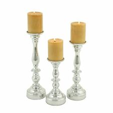 Aspire Home Accents 3734 Karter Silver Candle Holders (Set of 3)