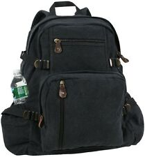 BLACK Vintage Cotton Canvas Jumbo School Bag Book bag Backpack Day Bag 9262