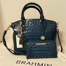 BRAHMIN DUXBURY CROSSBODY MED. & SURI WALLET & KEYRING PALACE BLUE LEATHER