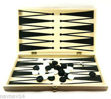 """Backgammon Checkers Draughts Set Game Board Wood 17""""  Games Wooden Black New"""