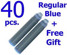 40 Fountain Pen Ink Cartridge Refills BLUE + GIFT