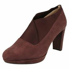 Ladies Clarks Kendra Mix Suede Smart Slip On Heeled Trouser Shoes